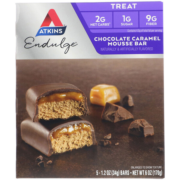 Atkins, Endulge, barra de mousse de chocolate y caramelo, 5 barras, 1,2 oz (34 g) por barra