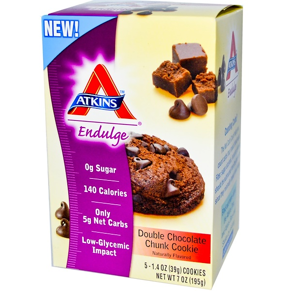 Atkins, Endulge, Double Chocolate Chunk Cookie, 5 Cookies, 1.4 oz (39 g) Each (Discontinued Item)