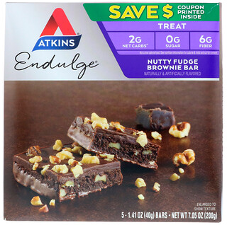 Atkins, Endulge, Nutty Fudge Brownie Bar, 5 Bars, 1.41 oz (40 g) Each