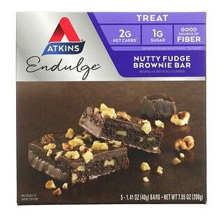 Atkins, Endulge, Nutty Fudge Brownie Bar, 5 Bars, 1.41 oz (40 g) Each