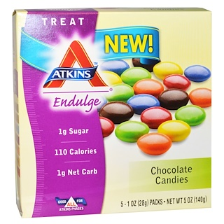 Atkins, Dulce, Caramelos de chocolate, 5 paquetes, 1 oz (28 g) cada uno