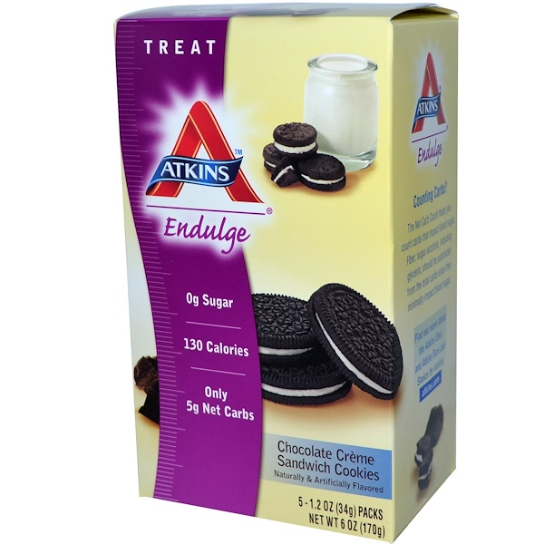 Atkins, Endulge, Chocolate Crème Sandwich Cookies, 5 Pack, 1.2 oz (34 g) Each (Discontinued Item)