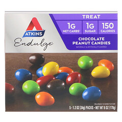 Atkins, Treat Endulge، حلوى شكوكلاته الفول السوداني، 5 عبوات، 1.2 أونصة (34 غ) لكل واحدة