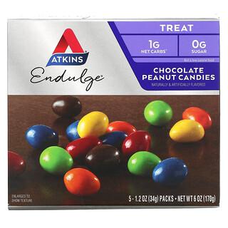 Atkins, Endulge, 초콜릿 땅콩 캔디, 5팩, 팩당 34g(1.2oz)