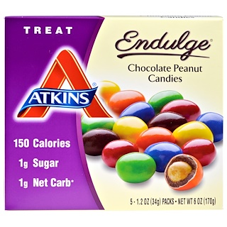Atkins, Treat Endulge, caramelos de maní con chocolate, 5 paquetes, 1,2 oz (34 g) cada uno