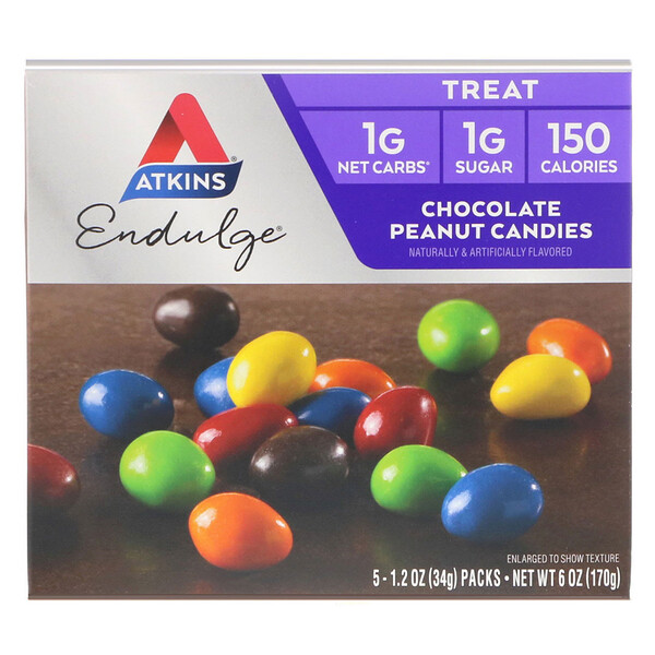 Atkins, Treat Endulge, Chocolate Peanut Candies, 5 Packs, 1.2 oz (34 g) Each