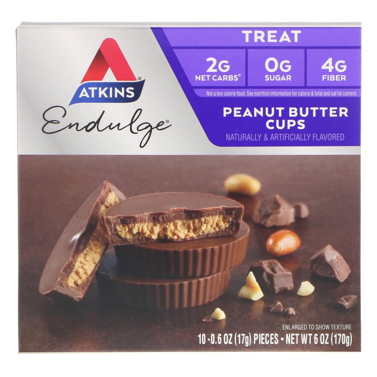 Atkins, オーガニック・ピーナッツバターカップ, ミルクチョコレート, 10 個, 各 0.5 オンス (15 g)