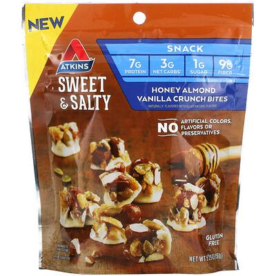 Купить Atkins Sweet & Salty Snacks, Honey Almond Vanilla Crunch Bites, 5.29 oz (150 g)