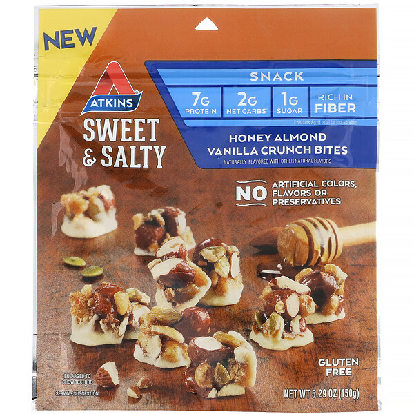 Atkins, Sweet & Salty Snacks, Honey Almond Vanilla Crunch Bites, 5.29 oz (150 g) (Discontinued Item)