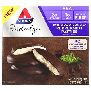 Atkins, Endulge Treat, мятные пирожки, покрытие темным шоколадом, 5батончиков, 37г (1,31унция) каждый