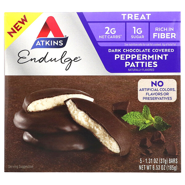 Endulge, Dark Chocolate Covered Peppermint Patties, 5 Bars, 1.31 oz (37 g) Each