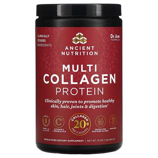 Dr. Axe / Ancient Nutrition, بروتين متعدد الكولاجين، خالٍ من النكهات، 1 رطل (454.5 جم)