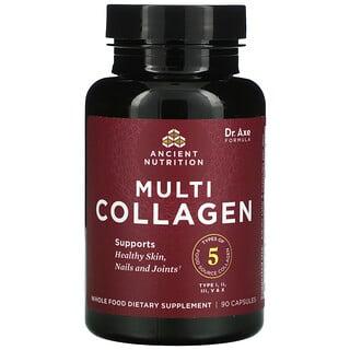 Dr. Axe / Ancient Nutrition, Proteína con múltiples tipos de colágeno, 90cápsulas