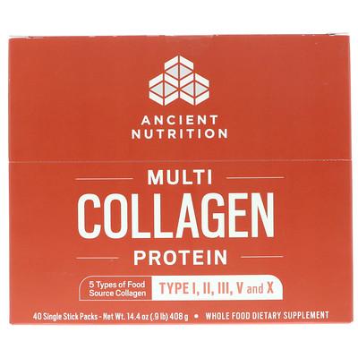 Купить Multi Collagen Protein, 40 Single Stick Packets, 14.4 oz (408 g)