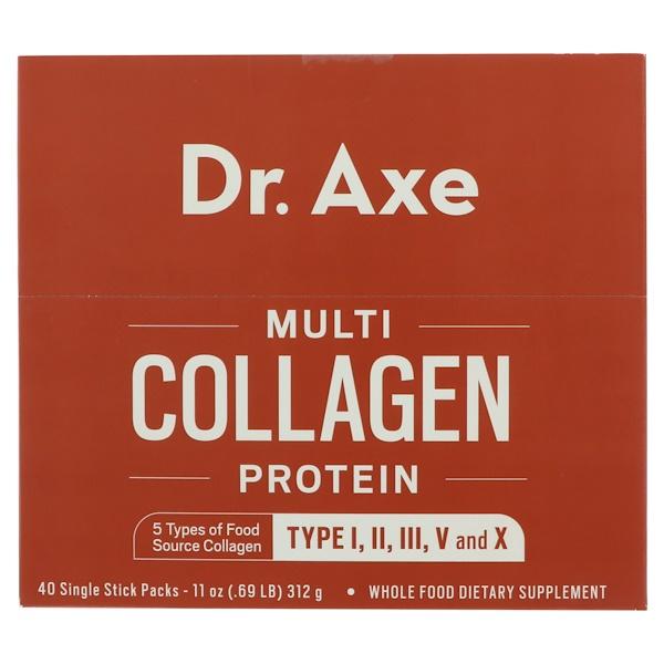 Dr、 Axe  Ancient Nutrition, 複合膠原蛋白,40份獨立長條小包,11盎司(312克)