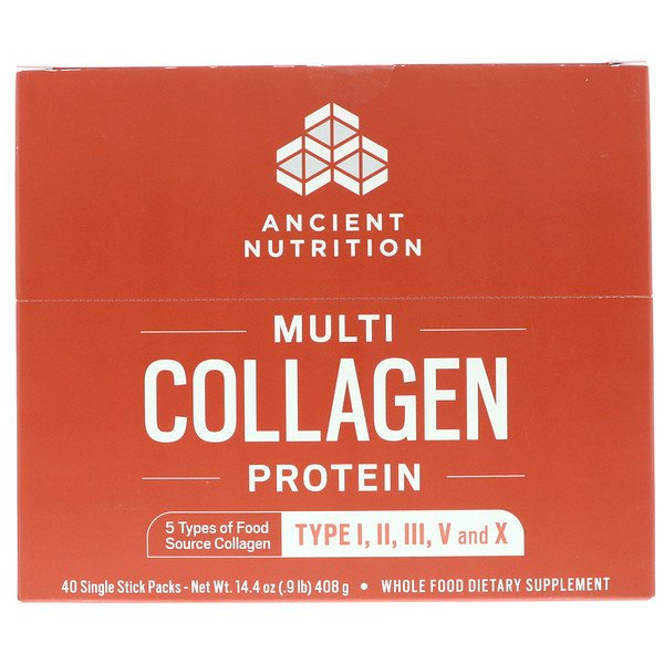 Dr. Axe / Ancient Nutrition, Multi Collagen Protein, 40 Single Stick Packets, 14.4 oz (408 g)
