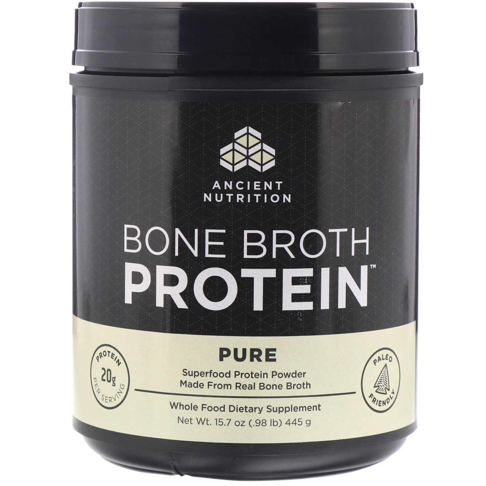 4a92693f78 Dr. Axe / Ancient Nutrition, Bone Broth Protein, Pure, 15.7 oz (445 ...
