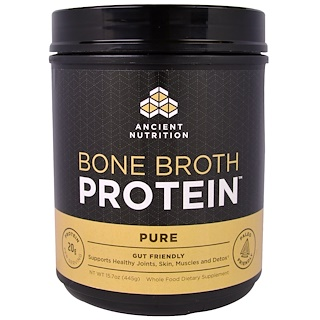 Dr. Axe / Ancient Nutrition, Proteína de caldo, Puro, 15,7 oz (445 g)