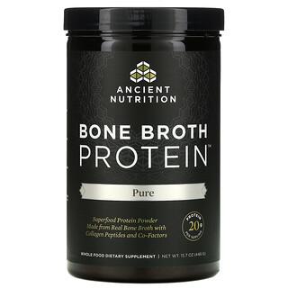Dr. Axe / Ancient Nutrition, بروتين مرق العظام Bone Broth Protein، نقي، 15.7 أونصة (446 جم)