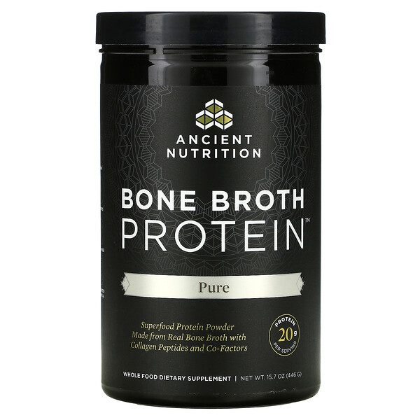 Dr. Axe / Ancient Nutrition, Bone Broth Protein, Pure, 15.7 oz(446 g)