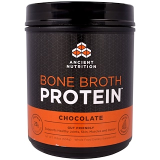 Dr. Axe / Ancient Nutrition, Proteína de caldo, Chocolate, 17,8 oz (504 g)