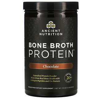 Dr. Axe / Ancient Nutrition, بروتين مرق العظام، بنكهة الشيكولاتة، 17.8 أونصة (504 جم)