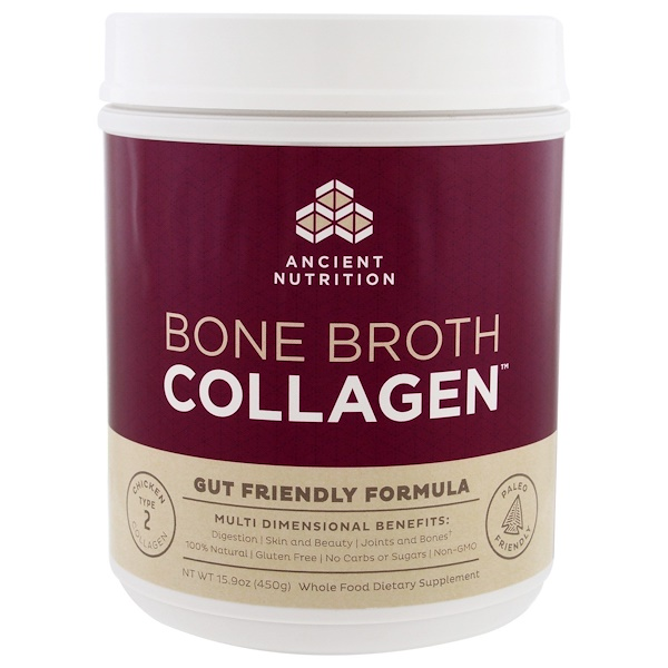 Dr. Axe / Ancient Nutrition, Bone Broth Collagen, чистый коллаген, 450 г (15,9 унции)