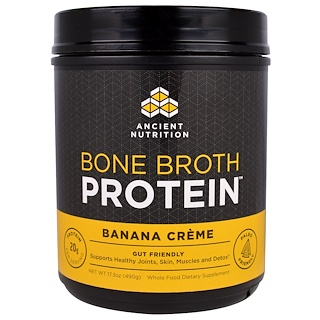 Dr. Axe / Ancient Nutrition, Bone Broth Protein, Crème à la banane, 17,3 oz (490 g)