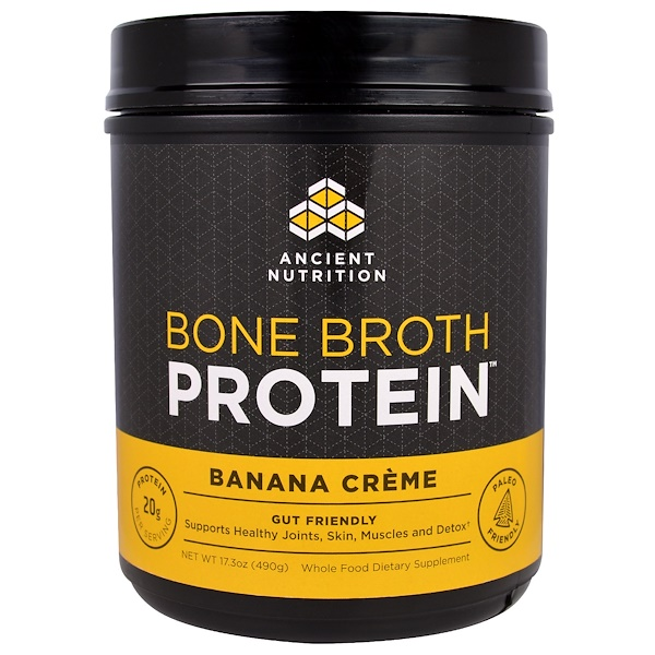 Ancient Nutrition, Bone Broth Protein, Banana Creme, 17.3 oz (490 g)