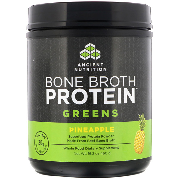 Dr. Axe / Ancient Nutrition, Bone Broth Protein Greens, Pineapple, 16.2 oz (460 g) (Discontinued Item)