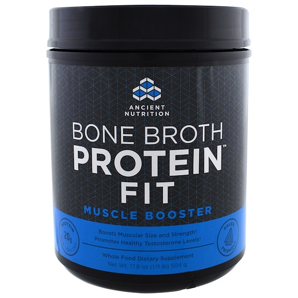 Dr. Axe / Ancient Nutrition, Bone Broth Protein Fit, Muscle Booster, 17.8 oz (504 g) (Discontinued Item)