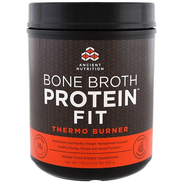 Dr. Axe / Ancient Nutrition, Bone Broth Protein Fit, Thermo Burner, 17.8 oz (506 g) (Discontinued Item)