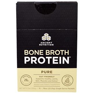 """Ancient Nutrition, """"Белок костного бульона"""", чистый белковый порошок без ароматизаторов, 15 порционных пакетов по 0,.78 унции (22,25 г)"""