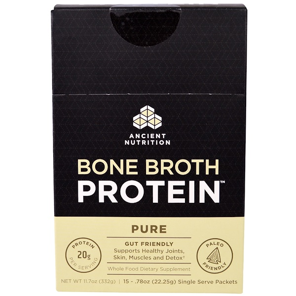 Dr. Axe / Ancient Nutrition, Bone Broth Protein, Pure, 15 Single Serve Packets, .78 oz (22.25 g) Each (Discontinued Item)