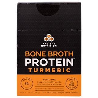 Ancient Nutrition, Bone Broth Protein, Turmeric, 15 Single Serve Packets, .81 oz (23 g) Each