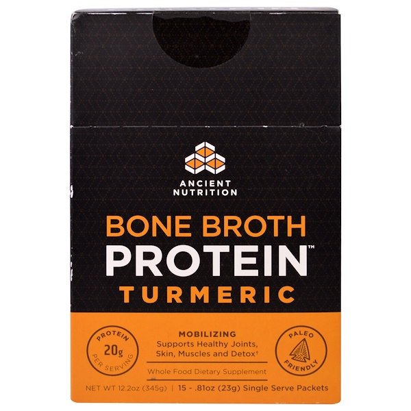 Dr. Axe / Ancient Nutrition, Bone Broth Protein, Turmeric, 15 Single Serve Packets, .81 oz (23 g) Each (Discontinued Item)