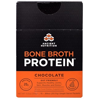 Dr. Axe / Ancient Nutrition, Proteína de caldo, Chocolate, 15 paquetes individuales, 0,89 oz (25.17 g) cada uno