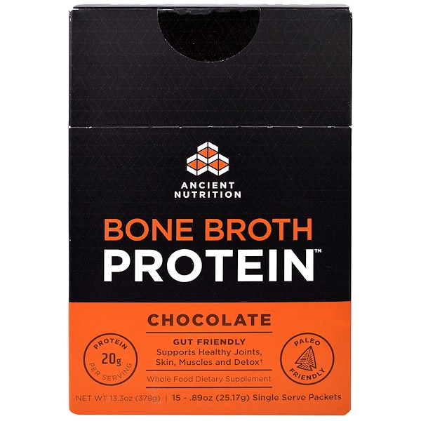 Dr. Axe / Ancient Nutrition, Bone Broth Protein, Chocolate, 15 Single Serve Packets, .89 oz (25.17 g) Each (Discontinued Item)