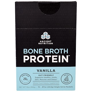 Dr. Axe / Ancient Nutrition, Bone Broth Protein, Vanilla, 15 Single Serve Packets, .87 oz (24.6 g) Each