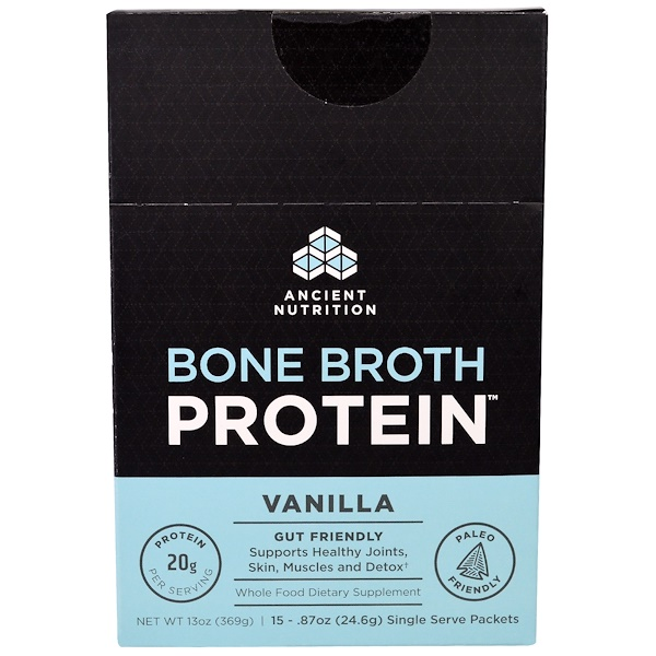 Dr. Axe / Ancient Nutrition, Bone Broth Protein, Vanilla, 15 Single Serve Packets, .87 oz (24.6 g) Each (Discontinued Item)