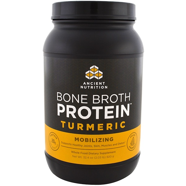Dr. Axe / Ancient Nutrition, Bone Broth Protein, Turmeric, 32.4 oz (920 g) (Discontinued Item)