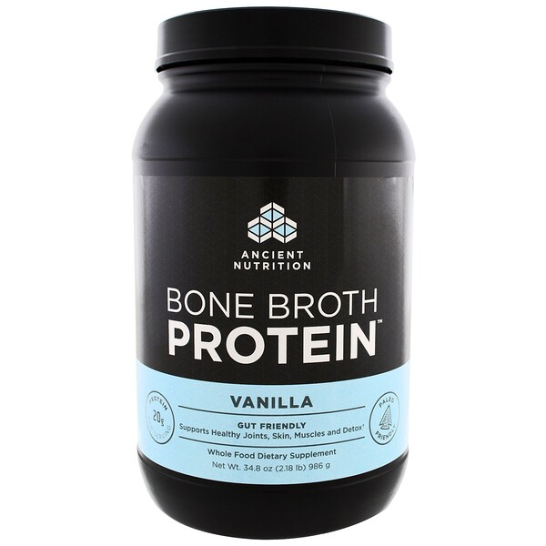 Dr. Axe / Ancient Nutrition, Bone Broth Protein, Vanilla, 2.17 lbs (986 g)