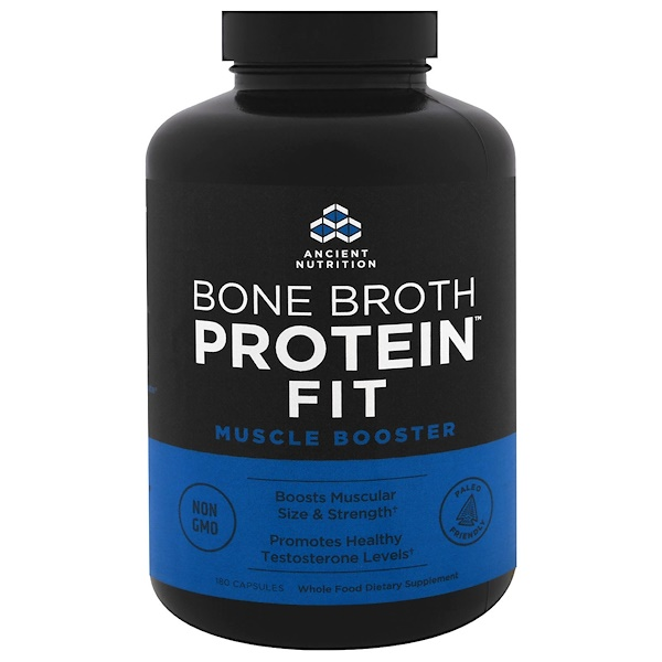 Dr. Axe / Ancient Nutrition, Bone Broth Protein Fit, Muscle Booster, 180 Capsules (Discontinued Item)