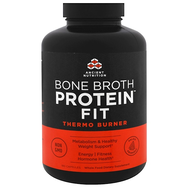 Dr、 Axe  Ancient Nutrition, Bone Broth Protein Fit, Thermo Burner , 180粒