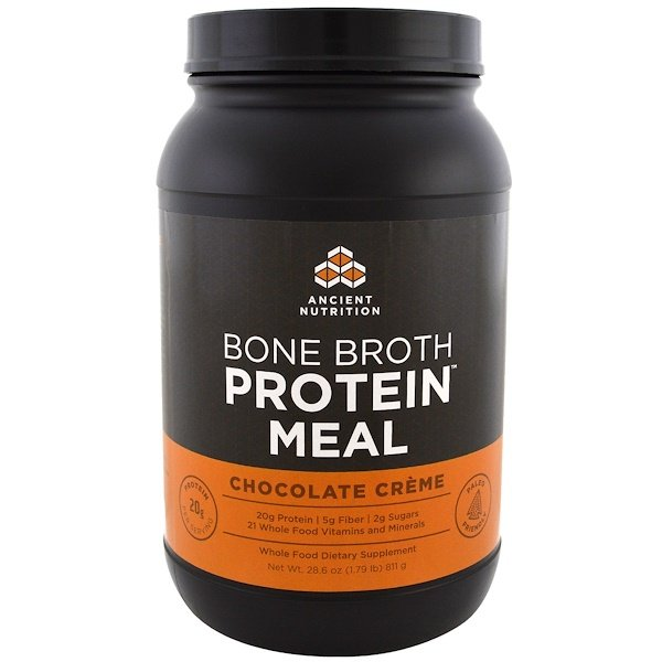 Dr. Axe / Ancient Nutrition, Bone Broth Protein Meal, Chocolate Creme, 28.6 oz (811 g) (Discontinued Item)