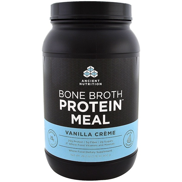 Dr. Axe / Ancient Nutrition, Bone Broth Protein Meal, Vanilla Creme, 28.2 oz (800 g) (Discontinued Item)