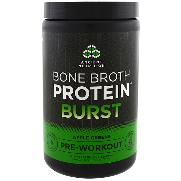 Dr. Axe / Ancient Nutrition, Bone Broth Protein Burst, Pre-Workout, Apple Greens, 12.9 oz (367 g) (Discontinued Item)