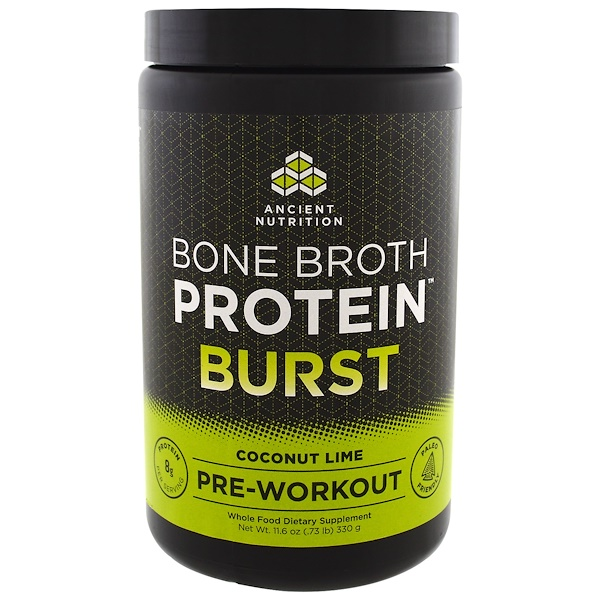 Dr. Axe / Ancient Nutrition, Bone Broth Protein Burst, Pre-Workout, Coconut Lime, 11.6 oz (330 g) (Discontinued Item)