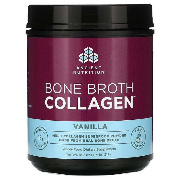 Dr. Axe / Ancient Nutrition, Bone Broth Collagen, Vanilla, 1.14 lbs (517 g)