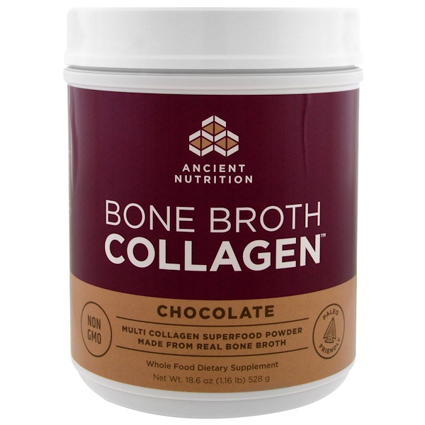 Dr. Axe / Ancient Nutrition, Collagène de bouillon d'os, chocolat, 18,6 oz (528 g)
